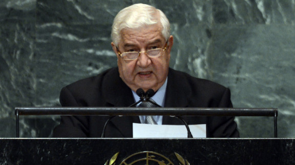 Syrian Foreign Minister Walid Moallem speaks during the 67th session of the United Nations General Assembly at the U.N. headquarters in New York on Monday, October 1. The event unites more than 100 heads of state and government for high-level meetings on nuclear safety, regional conflicts, health and nutrition and environment issues.