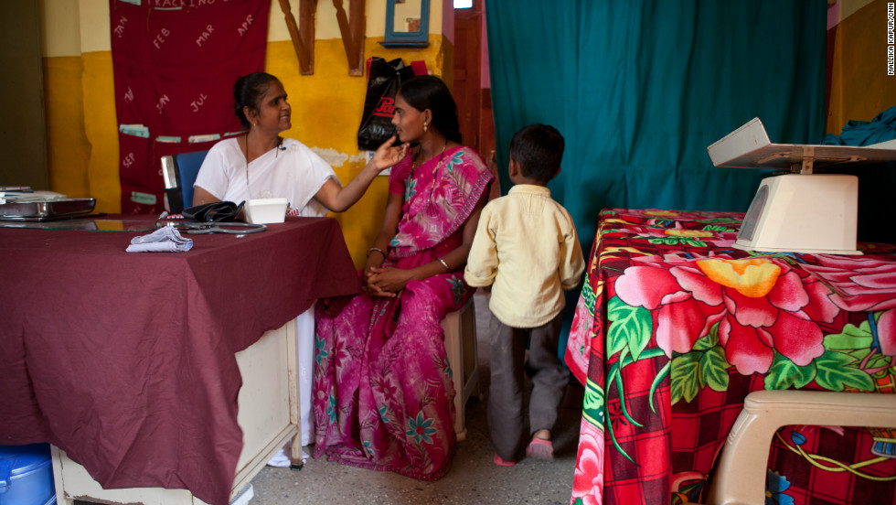 Among her many duties, Sister Shaikh conducts basic health checkups on pregnant woman in her modest health clinic.