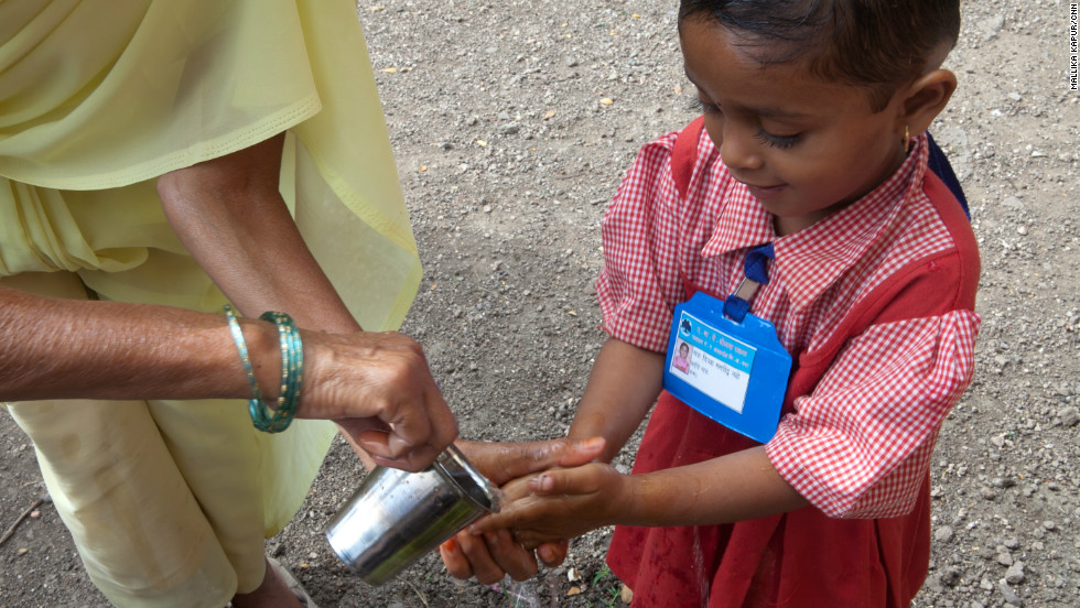 Children are taught the basics of good hygiene, including how to use soap and water to wash their hands.