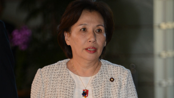 Newly-appointed minister Makiko Tanaka enters the PM