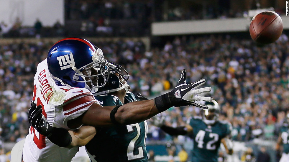 New York Giants wide receiver Ramses Barden, left, and Philadelphia Eagles cornerback Nnamdi Asomugha go up for the ball during the fourth quarter on Sunday, September 30, in Philadelphia. Barden was called for pass interference on the play during the Eagles' 19-17 win.