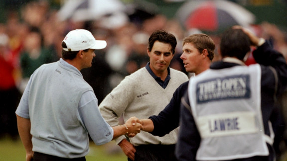 Jean Van de Velde (middle) looks bewildered as he reflects on his defeat in the 1999 British Open. The Frenchman blew a three-shot lead on the final hole, so forcing a play-off with Justin Leonard (right) and Scotland