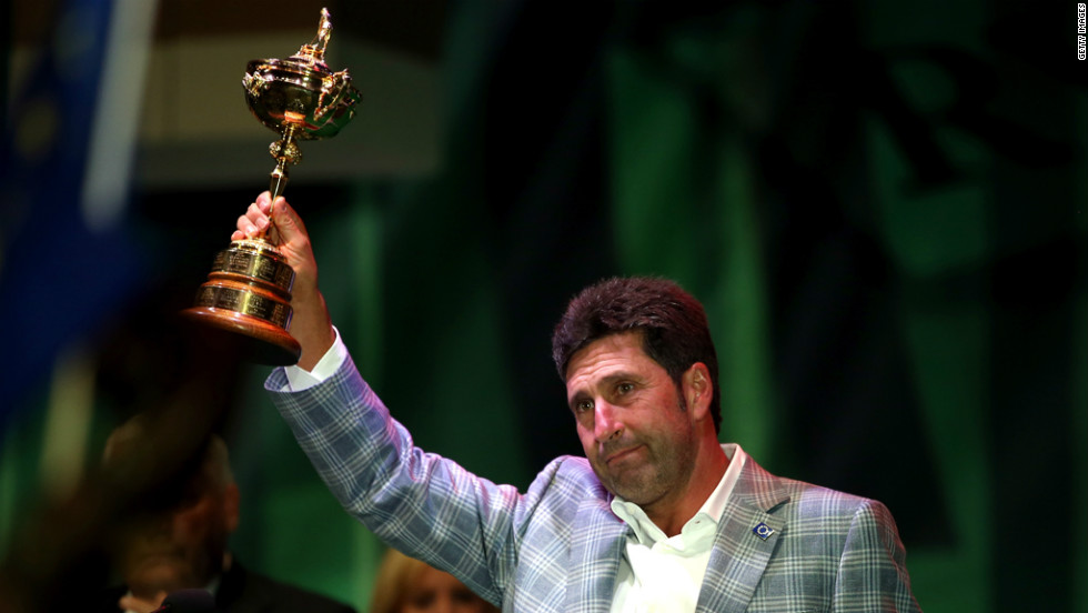 European team captain Jose Maria Olazabal holds the Ryder Cup at the closing ceremonies on Sunday.