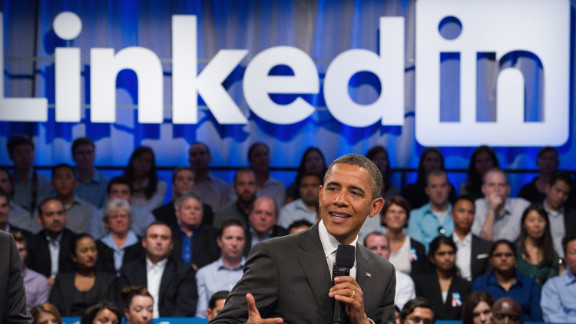 """President Barack Obama, pictured during a LinkedIn town hall last year, is one of 150 """"influencers"""" users can now follow."""