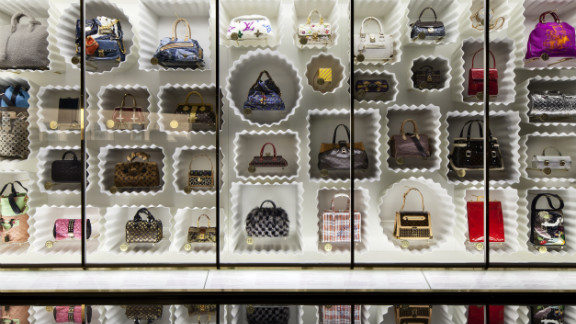 Dozens of Marc Jacobs-designed Louis Vuitton bags were on display in the museum