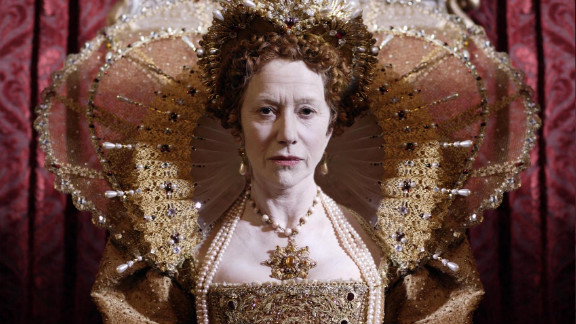 This costumed image of Academy Award-winning actress Helen Mirrenas Queen Elizabeth I is on display as part of the Fashion Museum