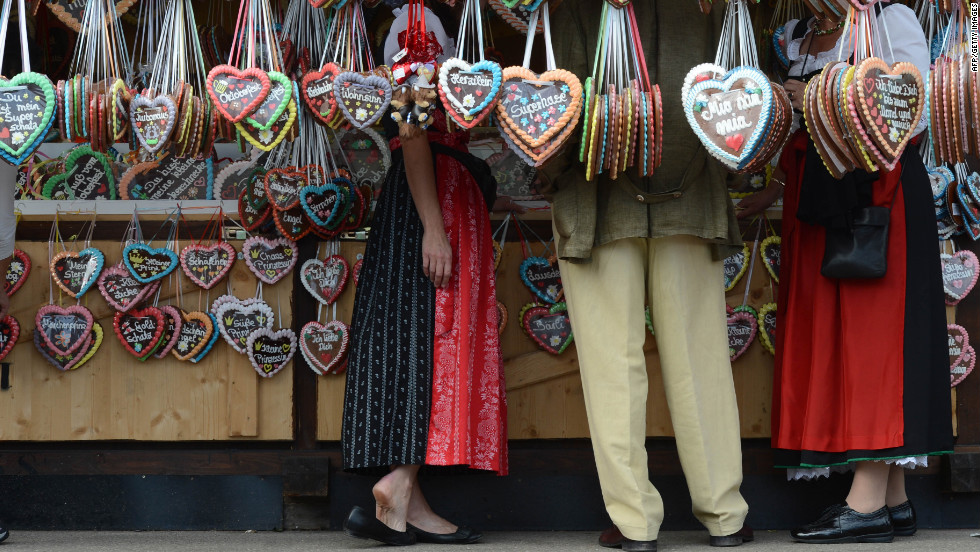 A booth sells gingerbread hearts at Oktoberfest on Tuesday.