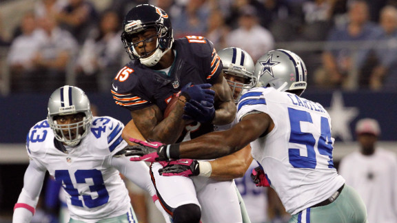 Brandon Marshall of the Chicago Bears makes a reception for a first down against the Dallas Cowboys on Monday, October 1, in Arlington, Texas. The Bears beat the Cowboys 34-18. Look back at the best of NFL Week Three.