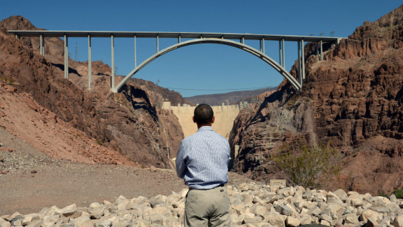 Obama stares at the Hoover Dam in Nevada during a visit Tuesday.