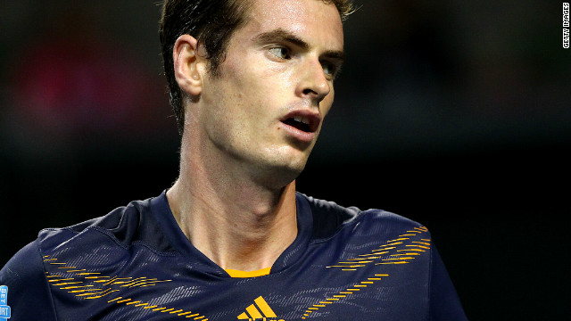 Andy Murray signals victory against Lukas Lacko in their last 16 clash at the Japan Open.