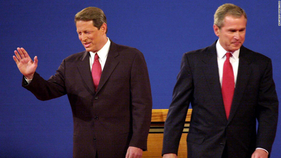 After a presidential debate in 2000, cameras caught a visibly annoyed Al Gore (L) sighing and shaking his head when George W. Bush spoke.