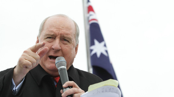 Radio personality Alan Jones speaks to the 'Convoy Of No Confidence' against the Gillard government on August 22, 2011.