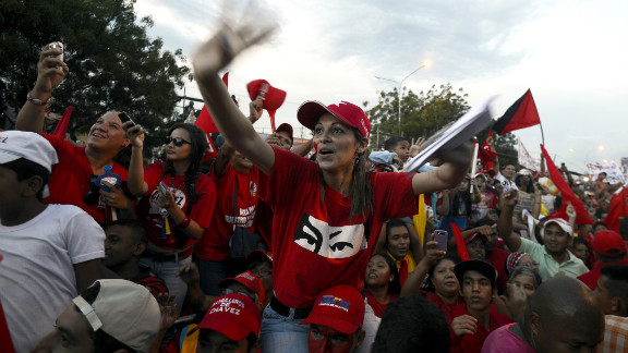 Supporters of Venezuela's current president cheer during a campaign rally in Barquisimeto on Tuesday.