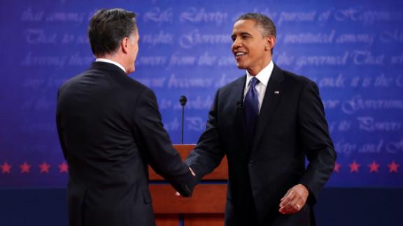 Obama and Romney shake hands Wednesday night.