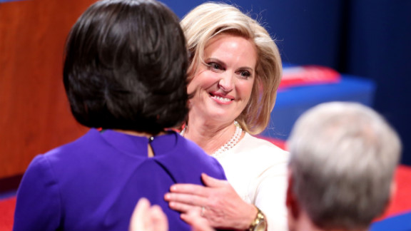 Ann Romney and first lady Michelle Obama hug on Wednesday.