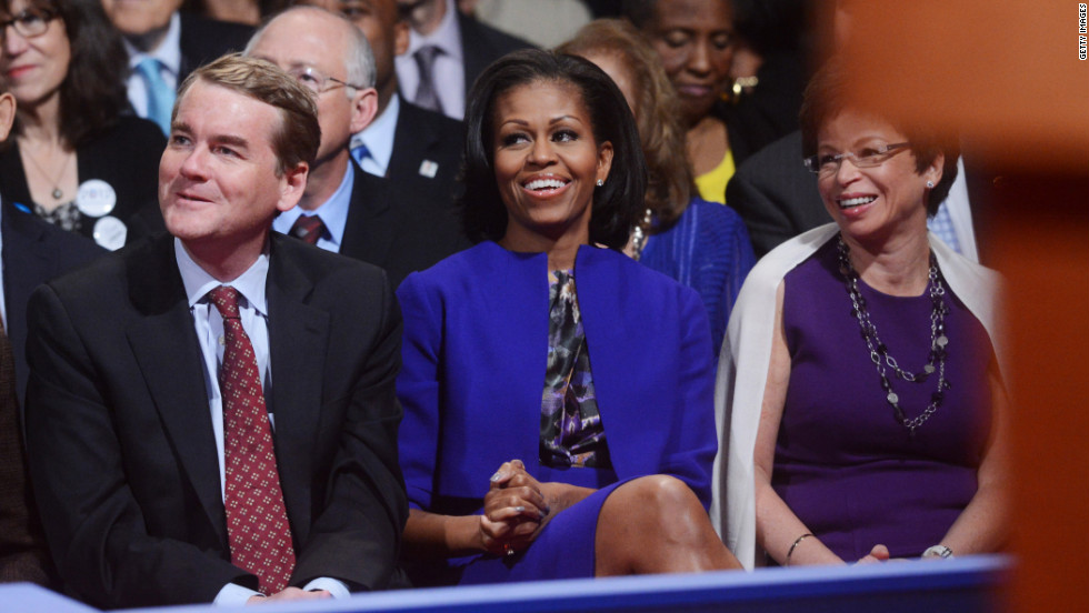 Michelle Obama sits with White House Senior Advisor Valerie Jarrett, right.