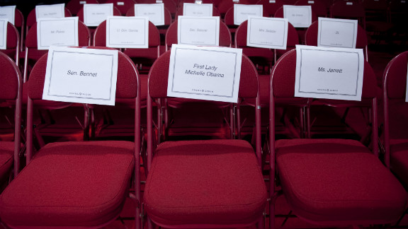A seat is assigned to first lady Michelle Obama prior to Wednesday