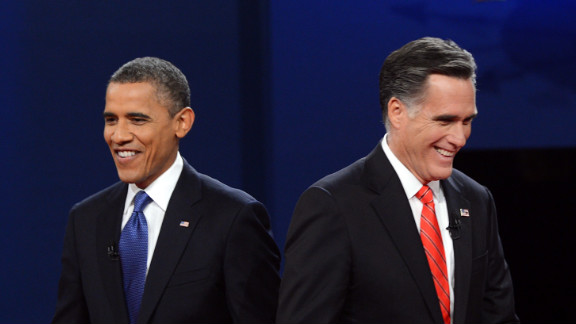 President Barack Obama and Republican presidential candidate Mitt Romney finish their debate in Denver on Wednesday, October 3. View behind-the-scene photos of debate preparations.