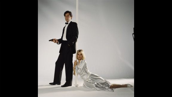 """Timothy Dalton and  Maryam d'Abo as Kara Milovy pose for a publicity still for the 1987  film """"The Living Daylights."""""""
