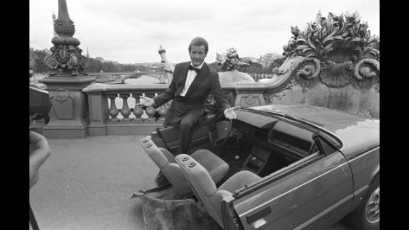 "Roger Moore on set during the filming of ""A View to a Kill"" in Paris, France in August 1984."