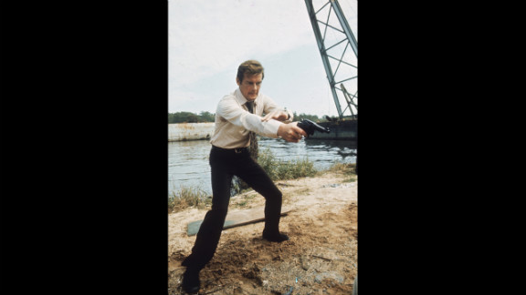 "Roger Moore hams it up during the filming of ""Live and Let Die,"" in 1973."
