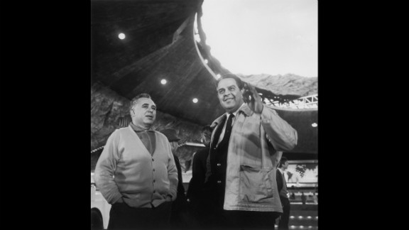"Co-producers Harry Saltzman and Albert ""Cubby"" Broccoli, right, on the set of  ""You Only Live Twice"" in October 1966."