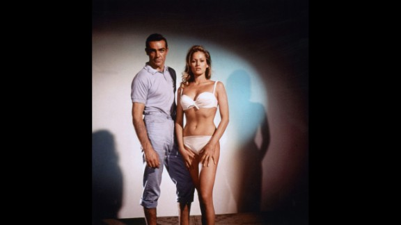 Sean Connery plays James Bond with Ursula Andress as Honey Ryder in 1962