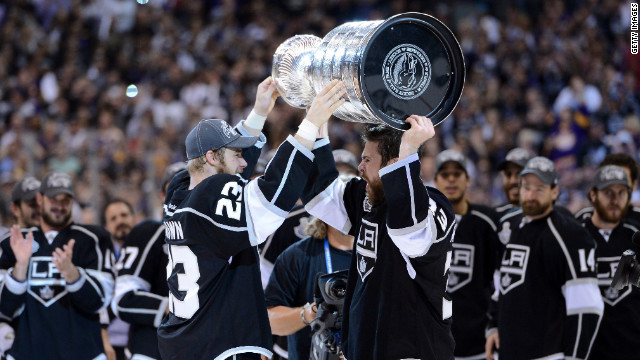 The Los Angeles Kings celebrate winning Stanley Cup in June after defeating the New Jersey Devils.