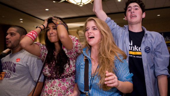 College students in Northfield, Minnesota, react on November 4, 2008, as it