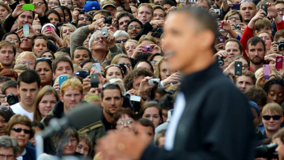 Obama addresses the crowd at the University of Wisconsin in Madison on Thursday.