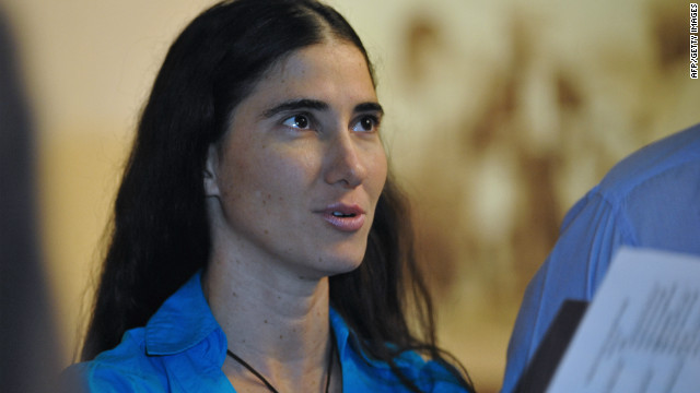 Dissident blogger Yoani Sanchez, pictured here in 2011, was reportedly arrested as she traveled to cover a trial in eastern Cuba.