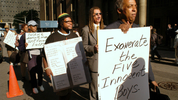 In September 2002, a group of protesters in New York demanded that the five young men convicted in the 1989 rape of a Central Park jogger be exonerated.