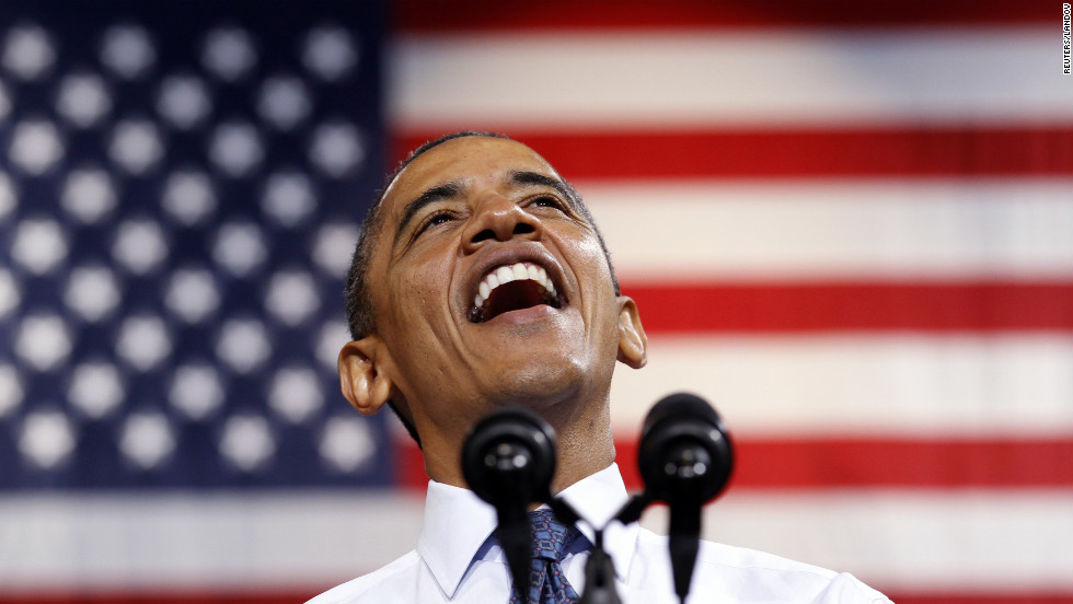 Obama smiles as he speaks during a campaign rally in Fairfax, Virginia on Friday.