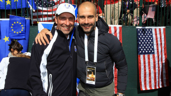 Guardiola is pictured here with fellow Spaniard Jose Maria Olzabal at the Ryder Cup after Europe produced a remarkable comeback to win the tournament at Medinah in the U.S.