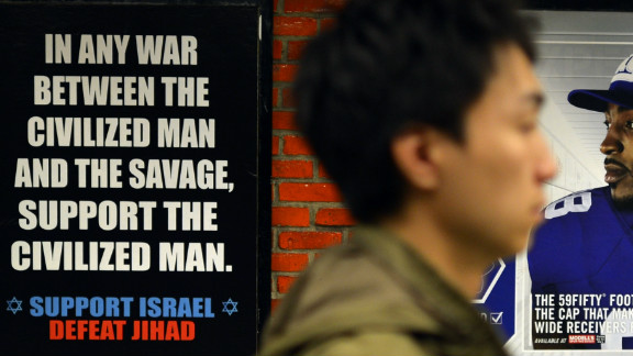 "A ""Defeat Jihad"" ad in a New York subway, placed by the  American Freedom Defense Initiative."