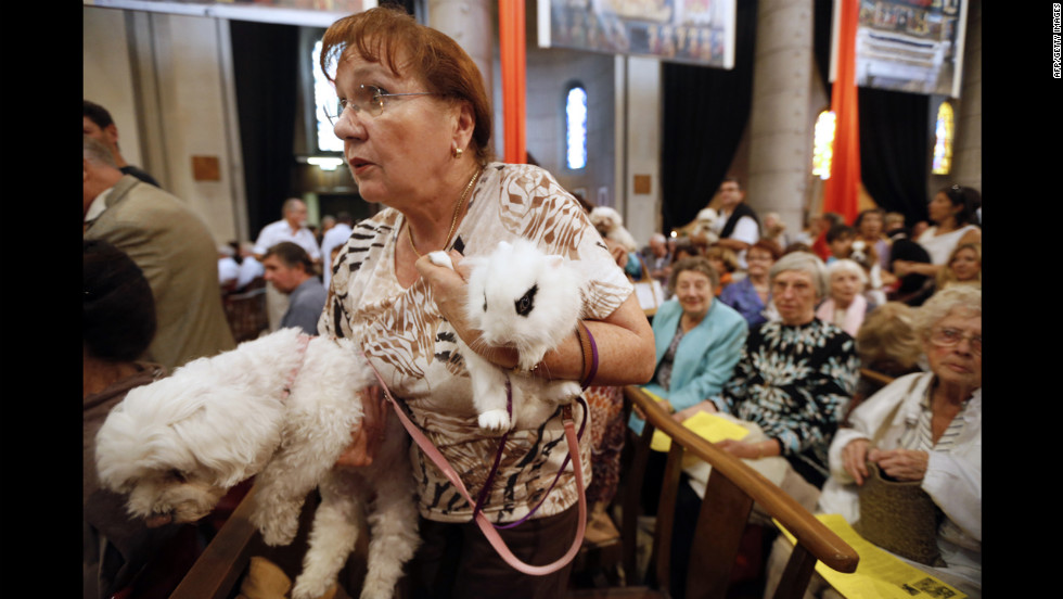 A woman attends with her dog and rabbit on Sunday..