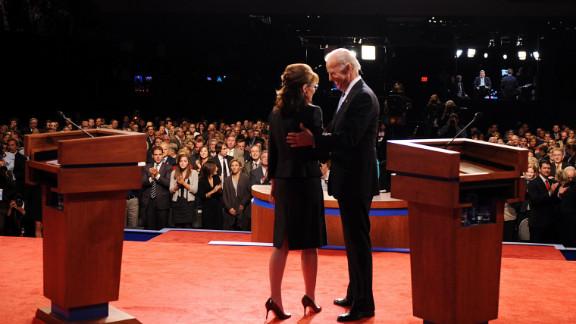 Joe Biden greets Sarah Palin during the 2008 vice presidential debate in St. Louis.
