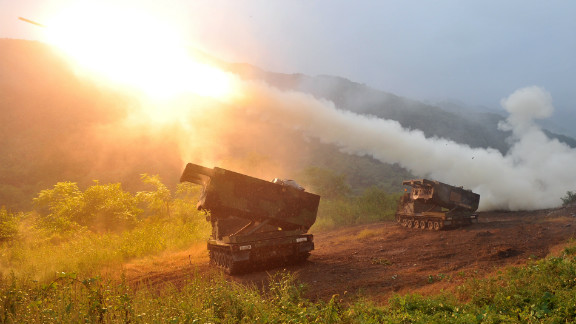 The U.S. Multiple Launch Rocket System launches rockets during a live training exercise in South Korea on September 13.