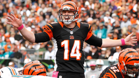 Cincinnati Bengals quarterback Andy Dalton yells to his offensive line before the start of a play Sunday against the Miami Dolphins at Paul Brown Stadium in Cincinnati.
