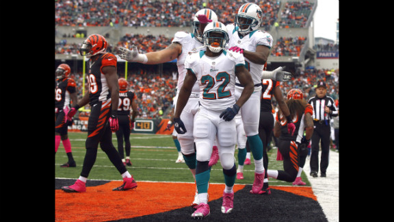 No. 22 Reggie Bush of the Dolphins celebrates with his teammates Sunday after a touchdown against the Bengals.