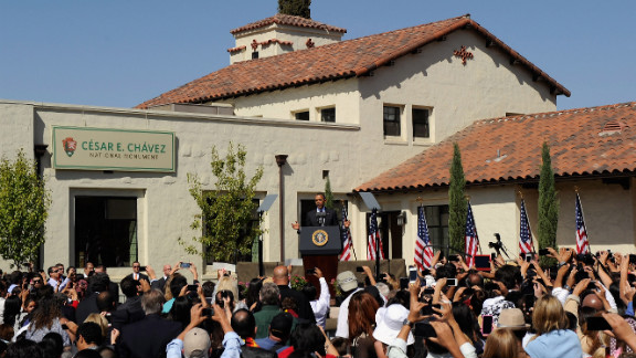 President Barack Obama speaks in 2012 during the announcement of the Cesar E. Chavez National Monument in Keene, California.