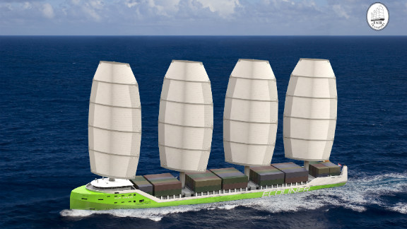 Tres Hombres managing company, Fair Transport, also hopes to build a 136-meter cargo ship which would use at least 50% wind power.  A diesel and electric motor would provide power in less windy conditions.