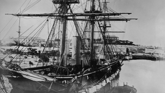 The merchant ship Challenger, pictured in Bermuda in 1865. Spices, tea and chocolate from across the globe were delivered in ever increasing quantities to the dining tables of Europe, as the ships became larger and more efficient.
