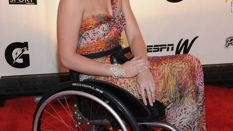 Mallory Weggemann is a U.S. Paralympic swimmer who turned to the sport after a routine epidural in 2008 left her paralyzed from the waist down.