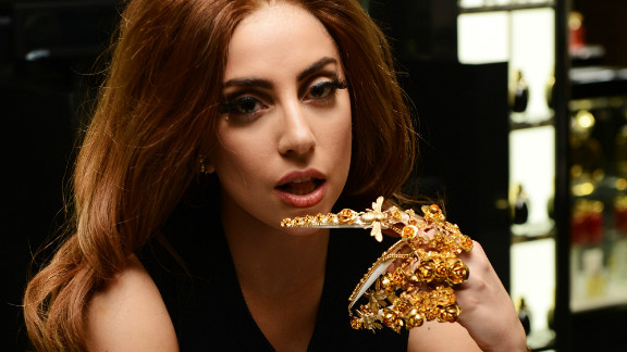 Lady Gaga pictured at the launch of her debut fragrance in Harrods department store, London on October 7, 2012.