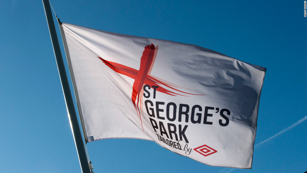 The flags waving outside of the new complex display the St. George's cross.