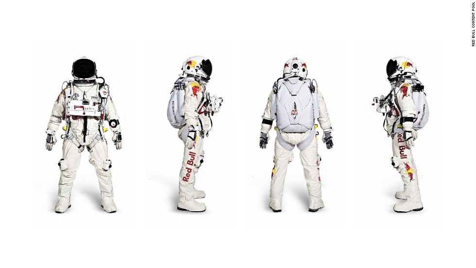 Baumgartner's pressurized flight suit and helmet restrict mobility and together weigh 100 pounds.