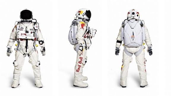 Baumgartner's pressurized flight suit and helmet restrict mobility and together weigh 100 pounds.