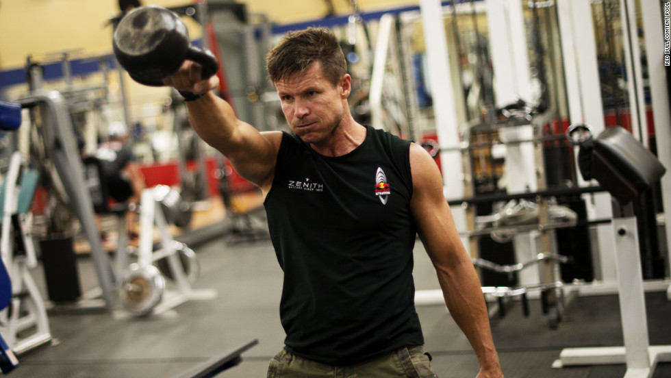 Baumgartner works out during preparations for the flight in Roswell on Sunday, October 7.
