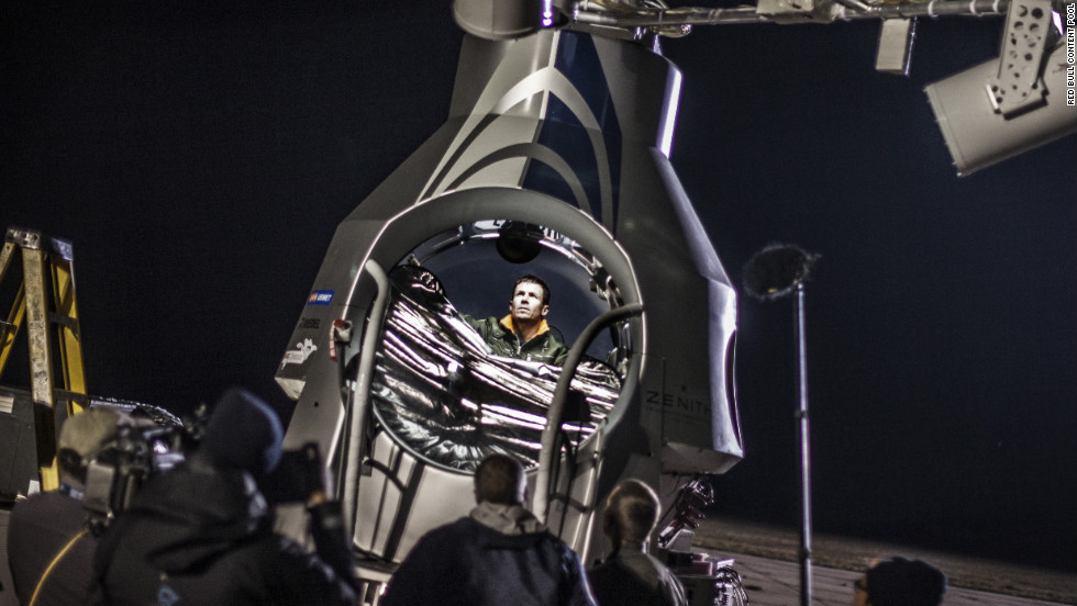 Baumgartner sits in his capsule before the scheduled final manned flight of Red Bull Stratos in Roswell on Tuesday, October 9.